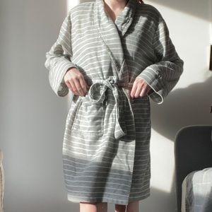 Polyester Grey Striped Bathrobe